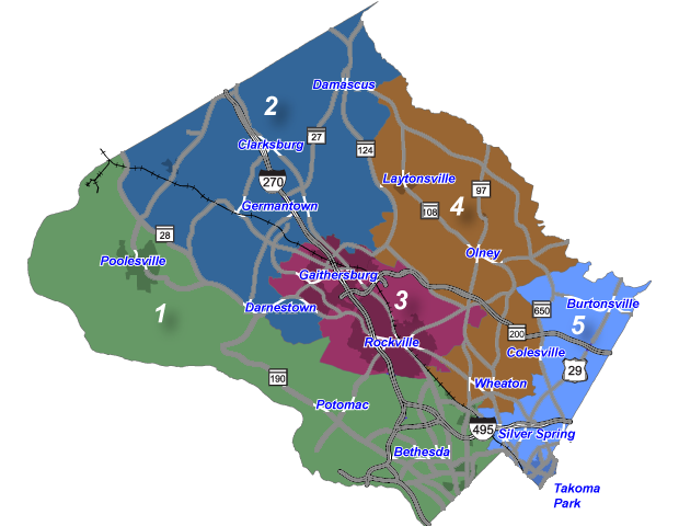 Map of all council districts