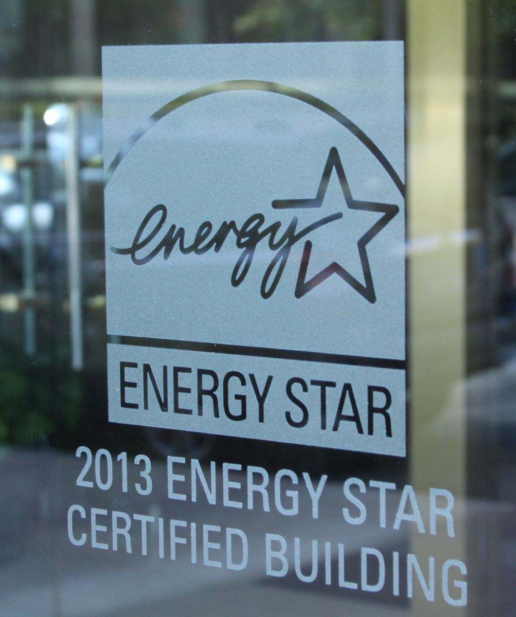 ENERGY STAR logo etched on certified building window