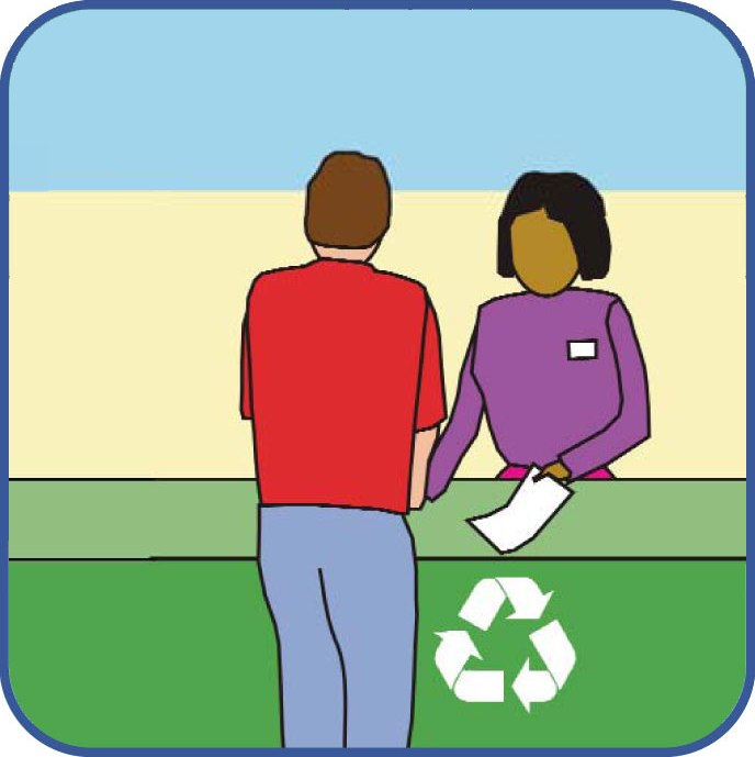 Graphic of volunteers helping to educate the public about trash and recycling services.