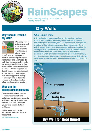 Image of the front of the RainScapes Dry Well Guide