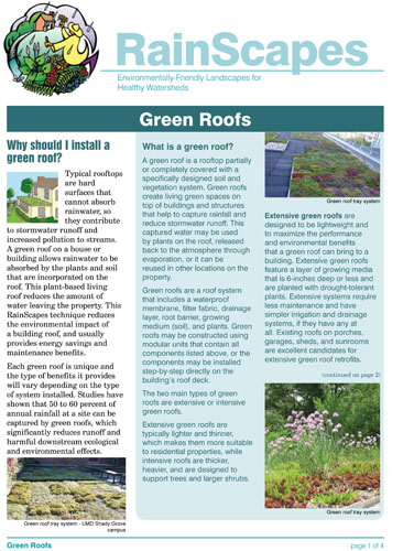 Image of the front of the RainScapes Green Roof Guide