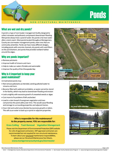 Image of the front of the Non-structural Pond Maintenance Fact Sheet.