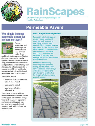 Image of the front of the RainScapes Permeable Pavement Guide