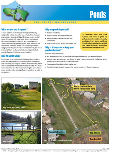 Image of the front of the Structural Pond Maintenance Fact Sheet.
