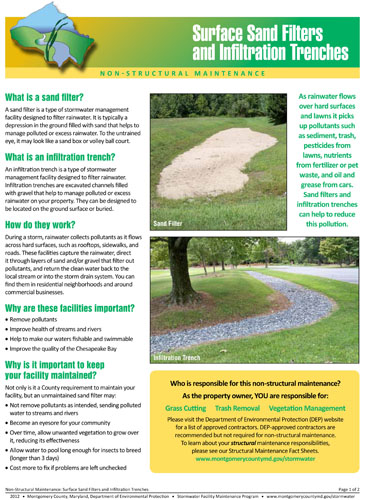 Image of the front cover of the Surface Sand Filter and Infiltration Trench Maintenance Fact Sheet