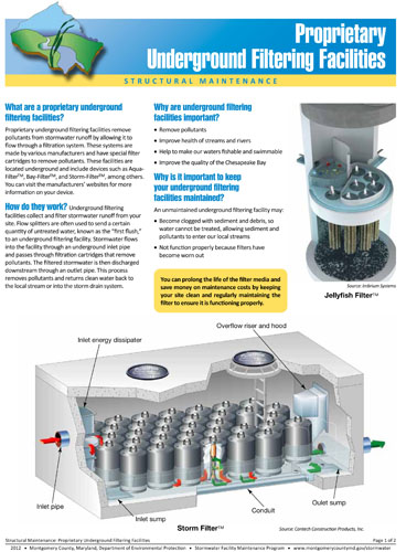 Image of the front of the Underground Filtering Facilities Fact Sheet
