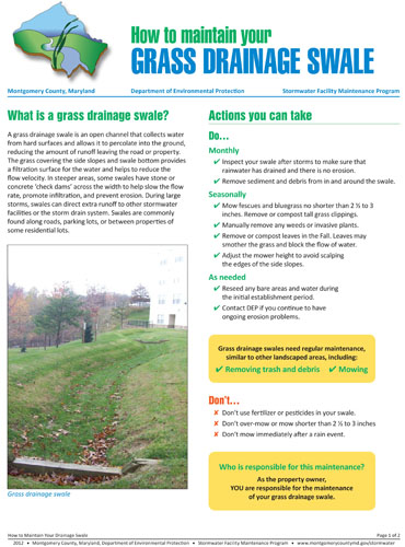 Image of the front of the Grass Swale Maintenance Fact Sheet.
