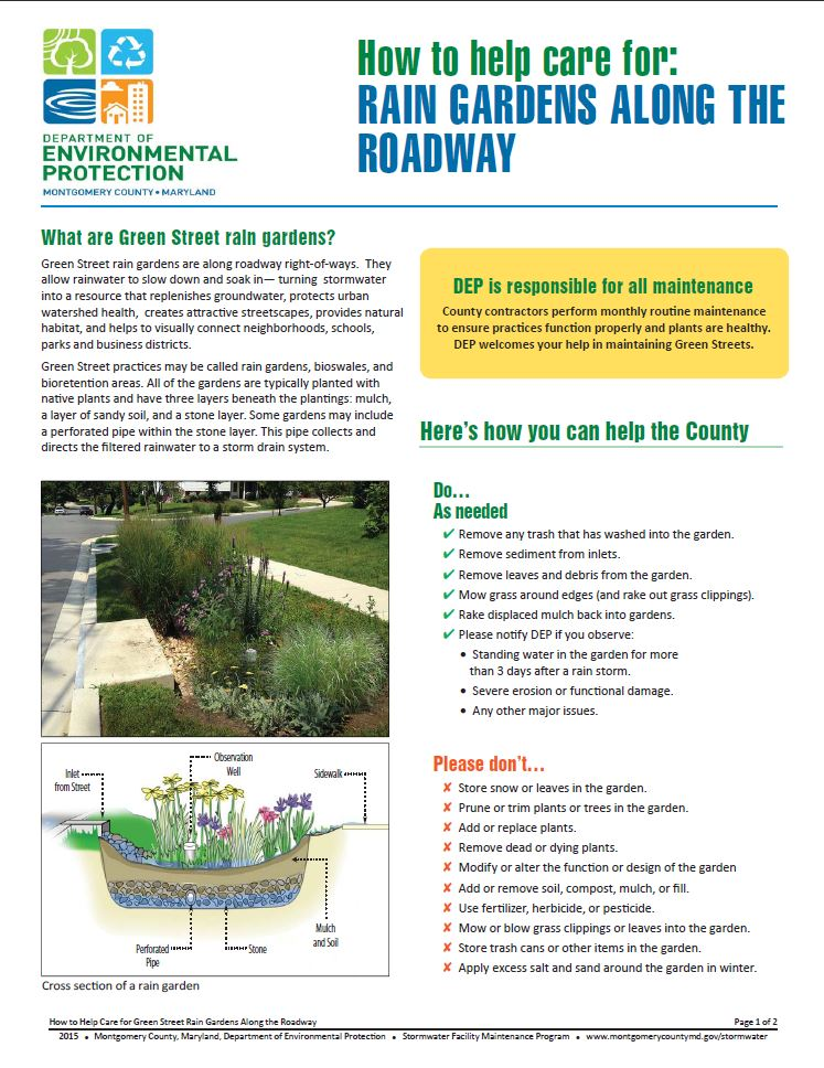 Image of the green streets maintenance fact sheet.