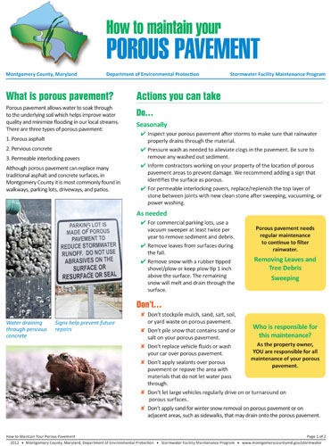 Image of the porous pavement maintenance fact sheet.