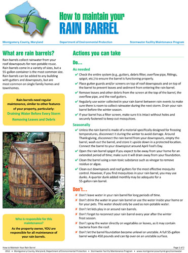 Image of the front cover of the rain barrel maintenance fact sheet.
