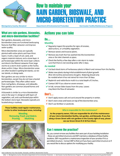 Image of the front of the Rain Garden Maintenance Fact Sheet.