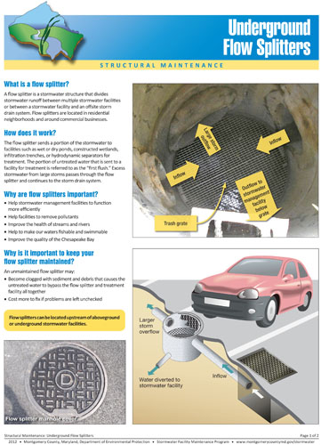 Image of the Front Cover of the Underground Flow Splitter Fact Sheet