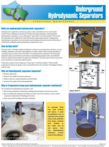 Image of the front of the Hydrodynamic Separator Maintenance Fact Sheet.