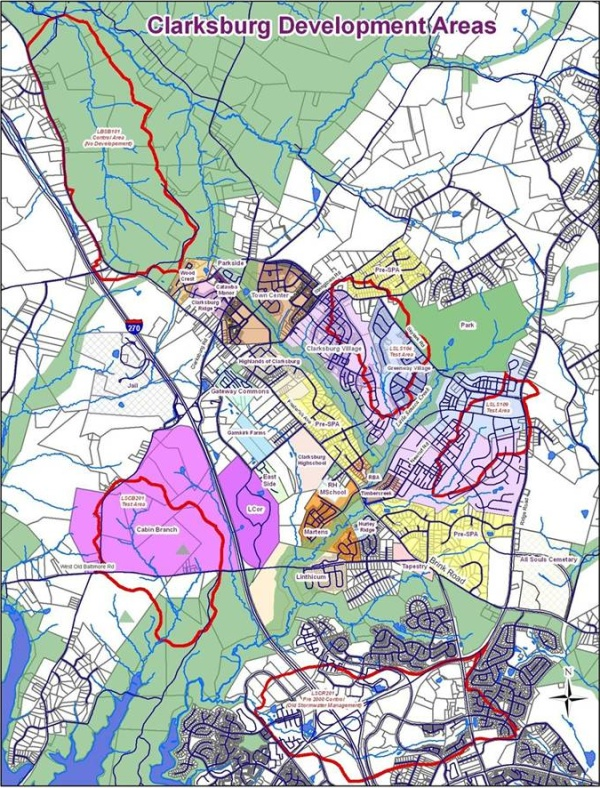 Map showing locations of Clarksburg study sites.