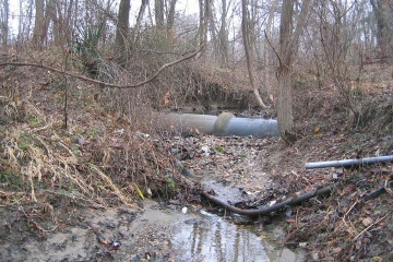 Image of an exposed sewer pipe.