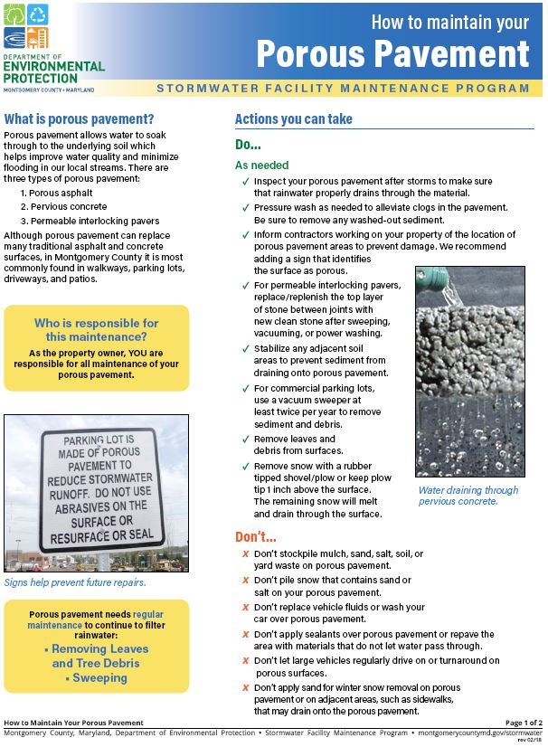 Download the How to Maintain Your Porous Pavement guide