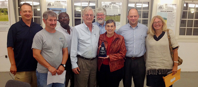 DEP staff with the Dickerson Area Facilities Implementation Group with the 2014 SWANA Excellence Award in Composting