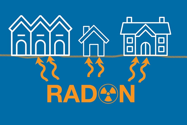 Houses with radon coming through the cracks.