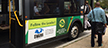 Image of a RideOn bus with a Green Business PSA on the side