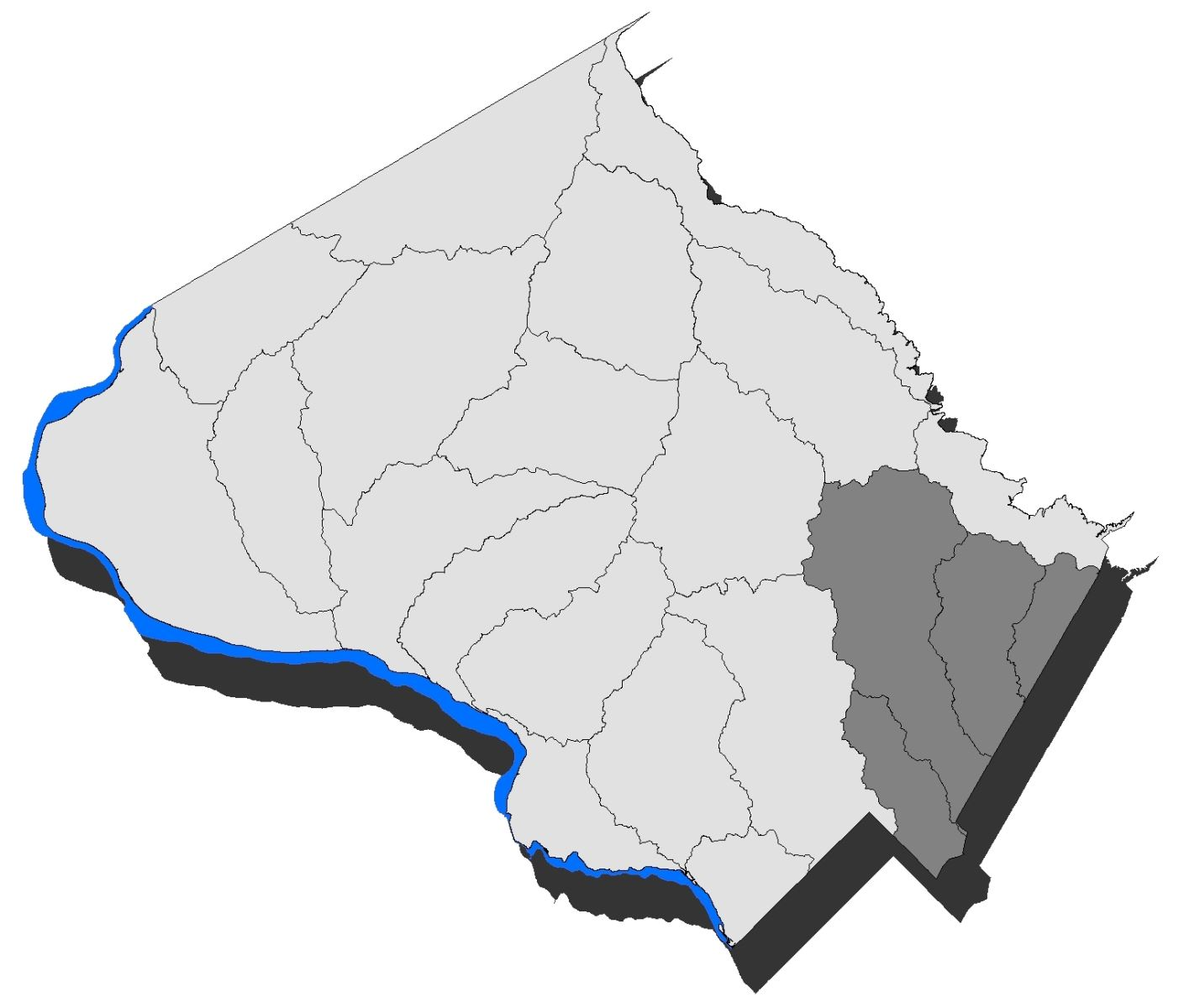 Map of Montgomery County with the Anacostia watershed highlighted.