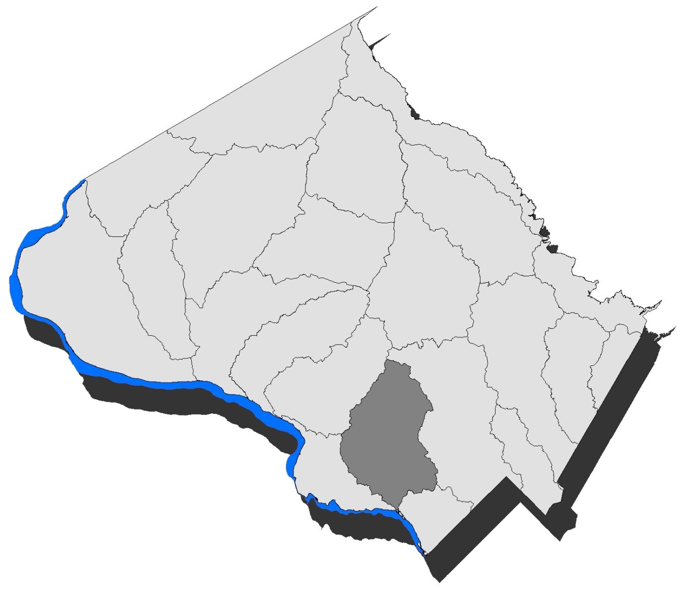 Map of the County with the Cabin John Creek Watershed highlighted