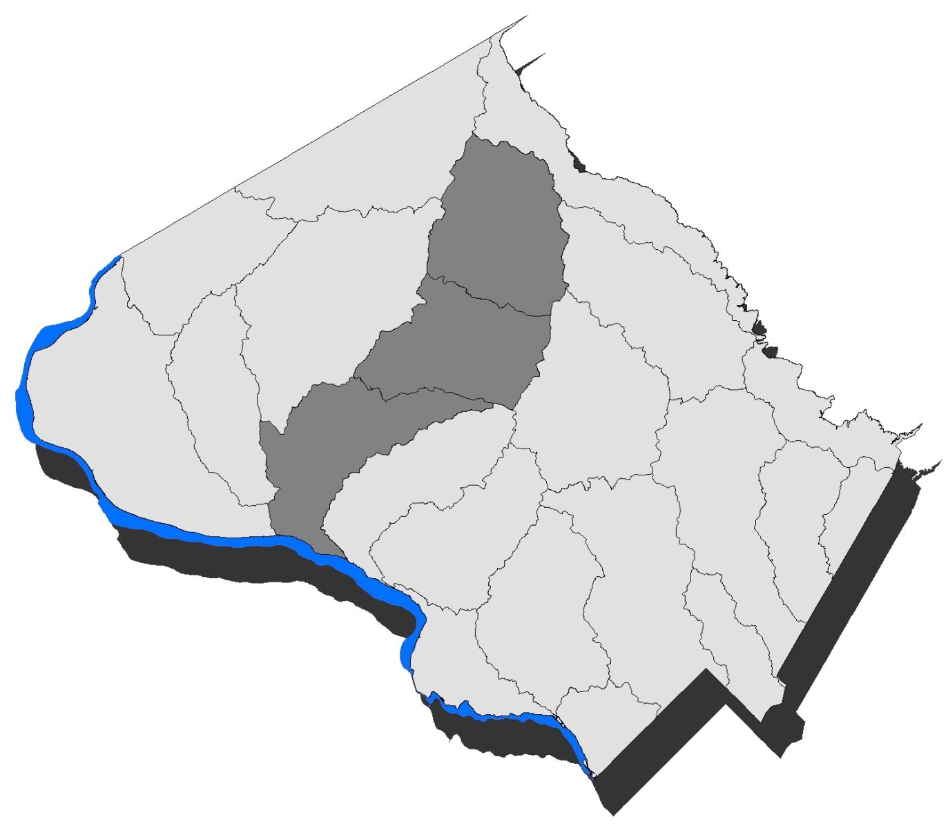 Map of Montgomery County with the Great Seneca subwatershed highlighted