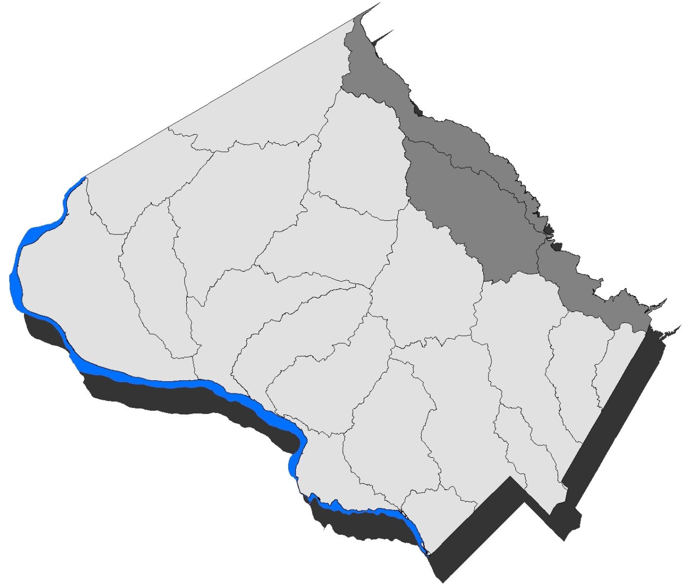 Map of the County with the Patuxent River watershed highlighted.