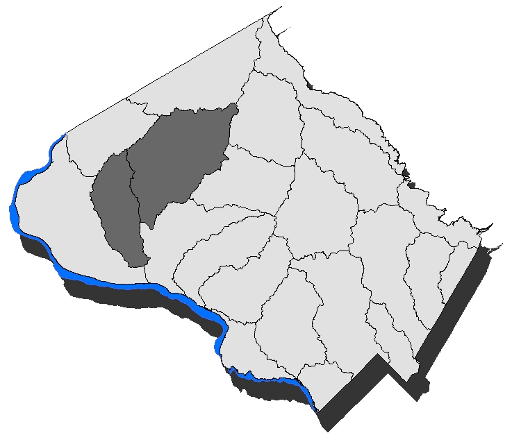 Map of Montgomery County with the Dry Seneca and Little Seneca subwatersheds highlighted