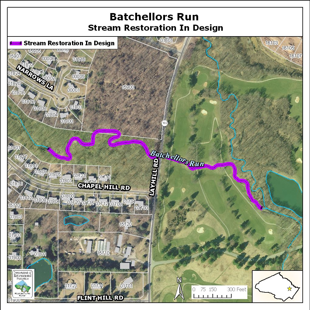 Map of Batchellors Run Stream Restoration