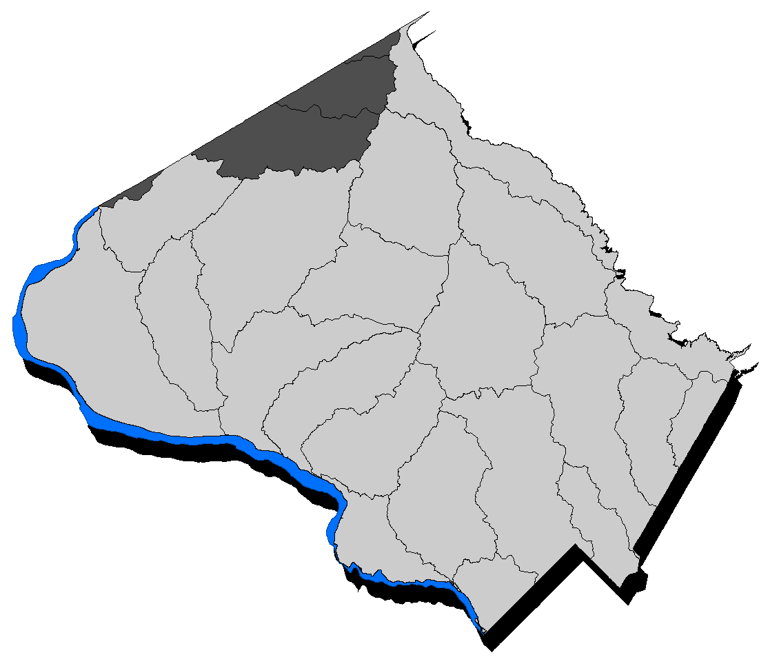 Map of the County with the Lower Monocacy highlighted.