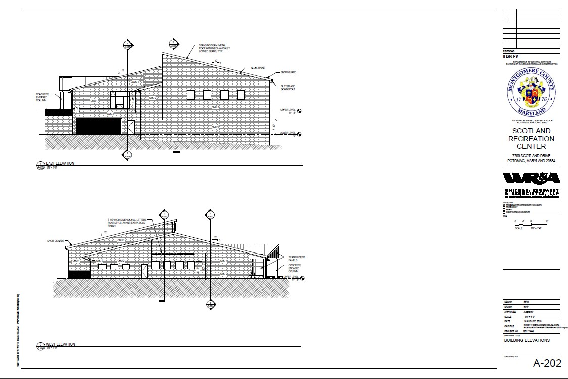 Scotland Community Recreation Center - East and West Elevations