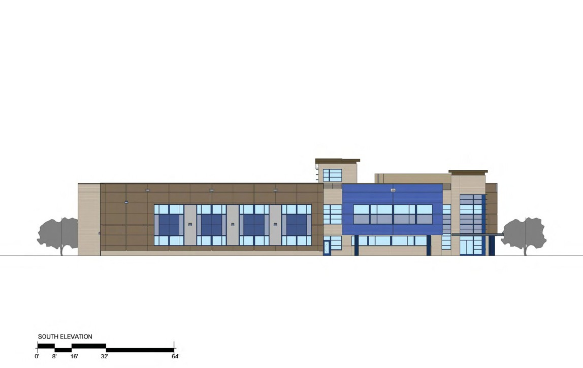 3rd District Police Station - South Elevation