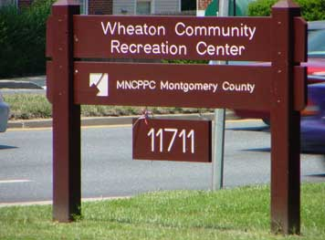 Sign of Wheaton Community Recreation Center and MNCPPC