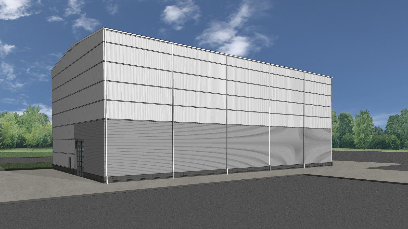 MASP & PSTA Project 3: Public Safety Training Academy - High Bay Exterior View Of Fire Training Support Building