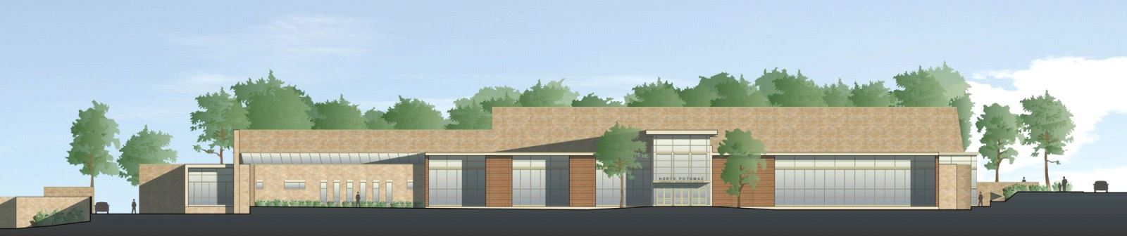 North Potomac Community Recreation Center - Main Entry Elevation