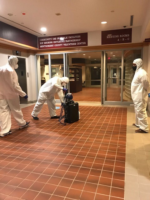 COVID disinfectionat Upcounty Government Center