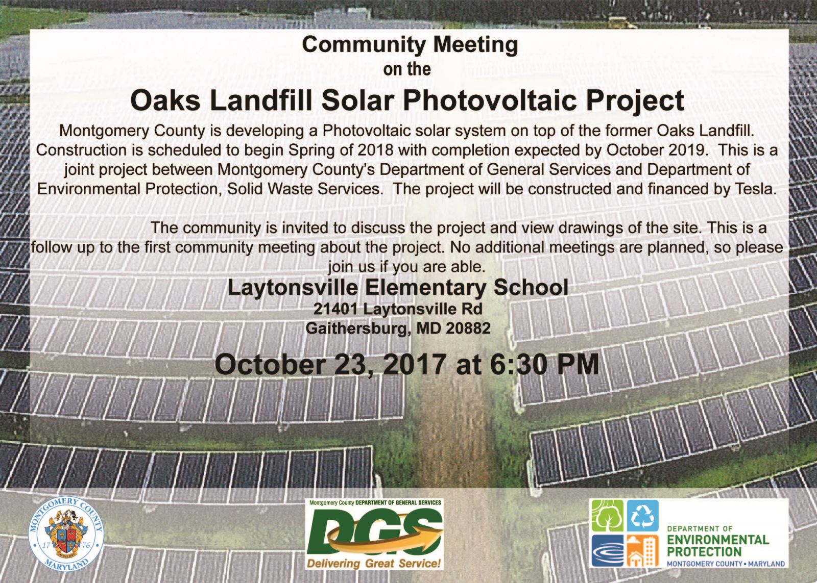 Community Meeting on Oaks Landfill Solar Project