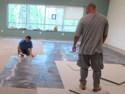 Carpet installation plum gar rec center