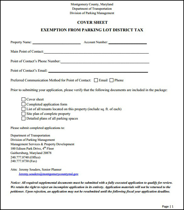 Exemption Application