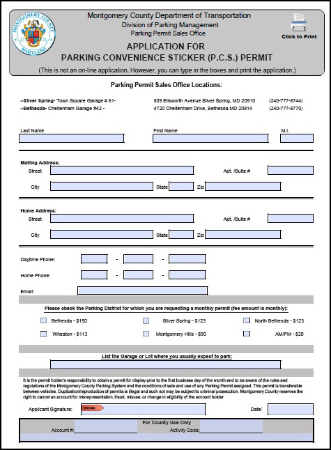 PCS Monthly Permit Application