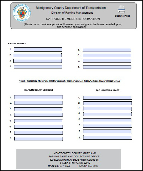 Carpool Members Information