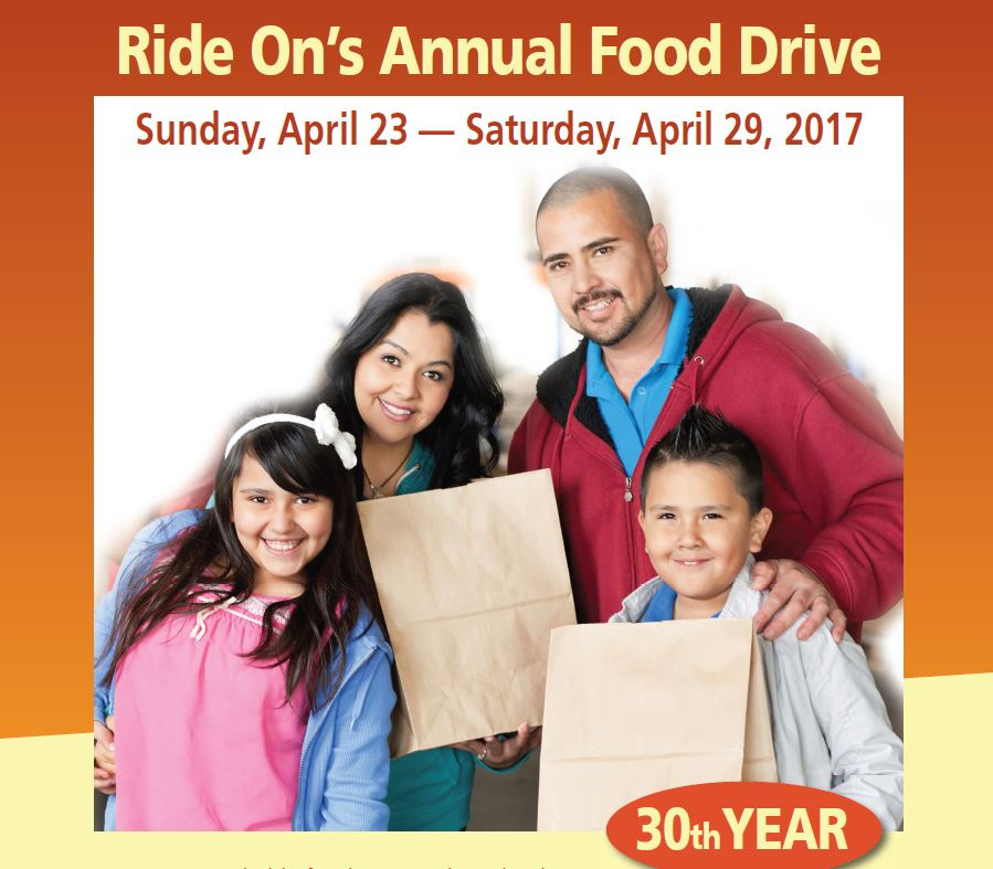 Ride On will host its annual food drive in partnership with Manna Food Center from Sunday, April 23 to Saturday April 29.