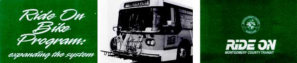 Ride On Bike Program: expanding the system; vintage photo of bus with bike on rack; Ride On logo