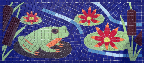 Mosaic of frog on lily pad/
