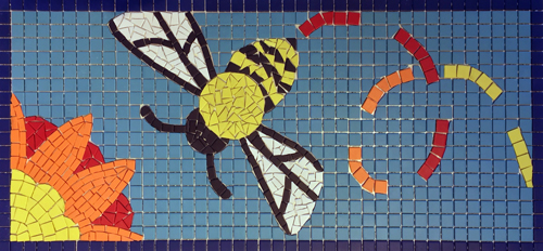 Mosaic of bee and flower.