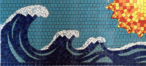 Mosaic waves against blue sky with sun.