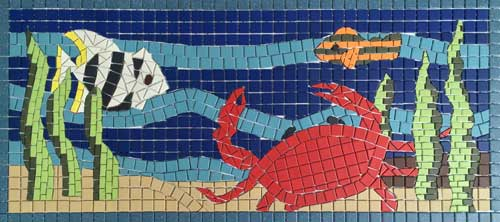 Mosaic of crab on ocean floor with fish.