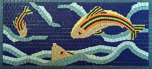 Mosaic of jumping fish.