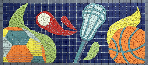 Mosaic of lacrosse stick .and ball; soccer call; basketball.