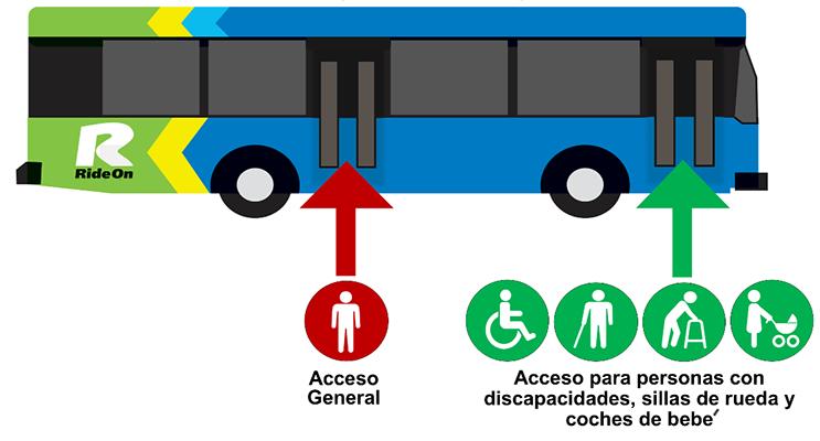 Puerta delantera: personas con discapacidades, silla de ruedas y coches de bebé. Puerta trasera: acceso general.